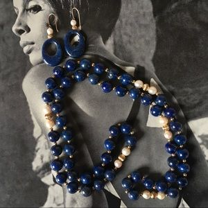 Blue Lapis Necklace and Pierced Earrings Vintage